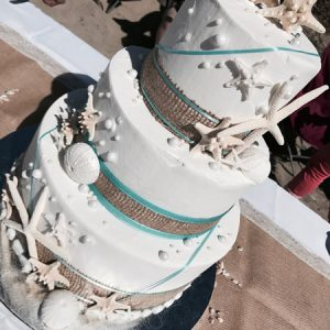 Oregon Coast wedding sand dollar cake